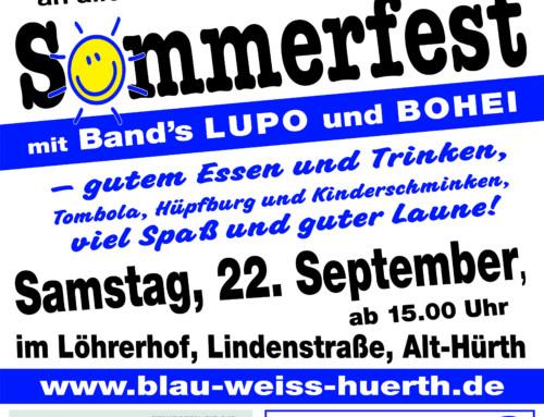 80 Jahre Hürther Funken Blau- Weiss 1938 e.V  Sommerfest am 22.09.2018 im Löhrer Hof